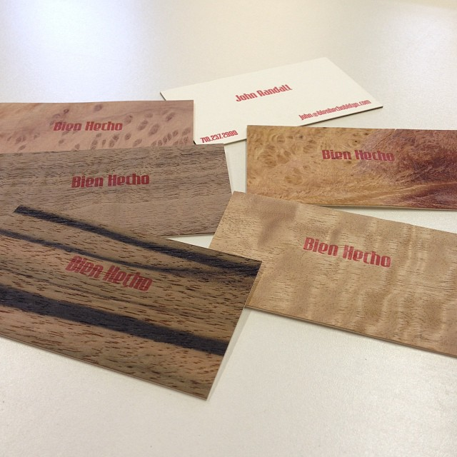 The new wooden business cards, hot off the #WoodsidePress many thanks to Davin. Just in time for the #FactoryFloor at #IndustryCity veneers: #MacassarEbony #FiguredEucalyptus #CurlyWalnut #RedwoodBurl