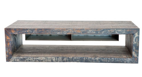 Blue & White Distressed Coffee Table