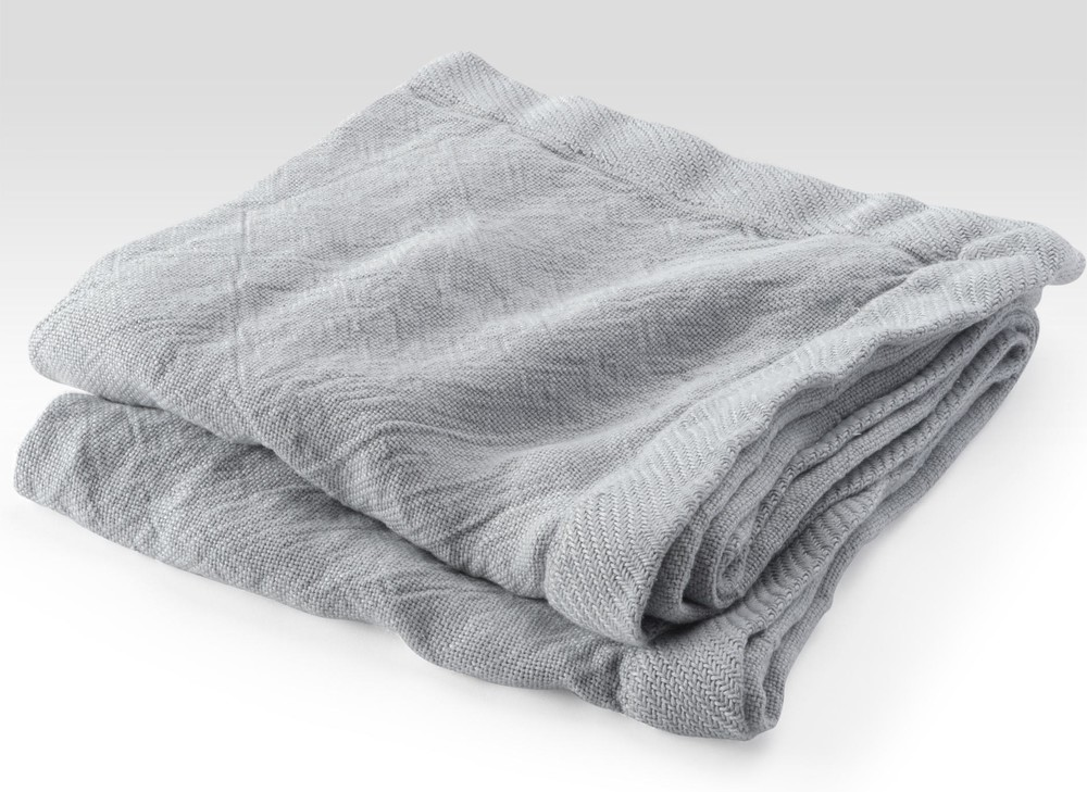 Grey Linen Flat Weave Throw