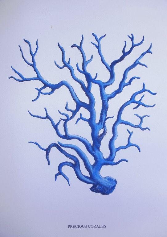 Blue Coral Print