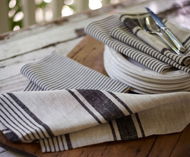 Navy Striped Linen Napkin