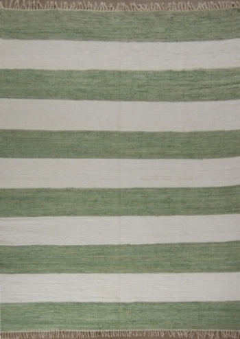 Grass Green Striped Rug