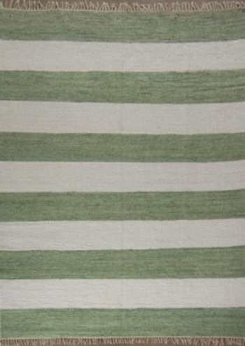Grass Green Striped Rug