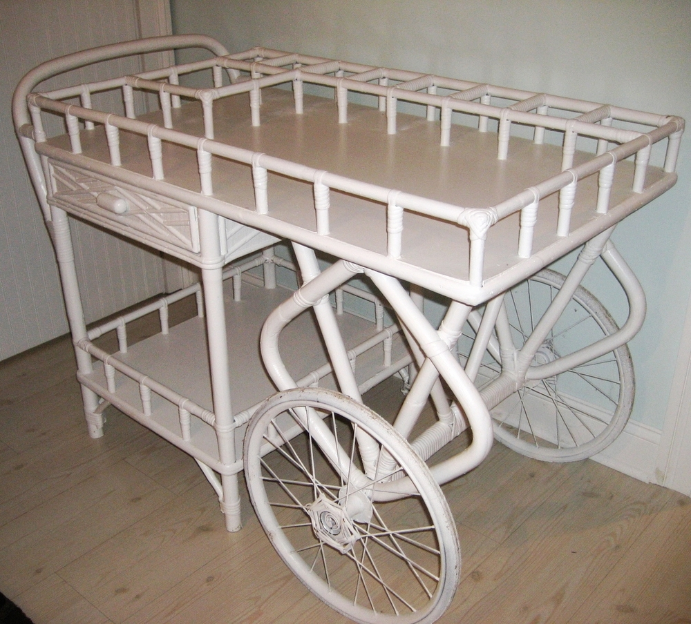 White Wicker Bar Cart