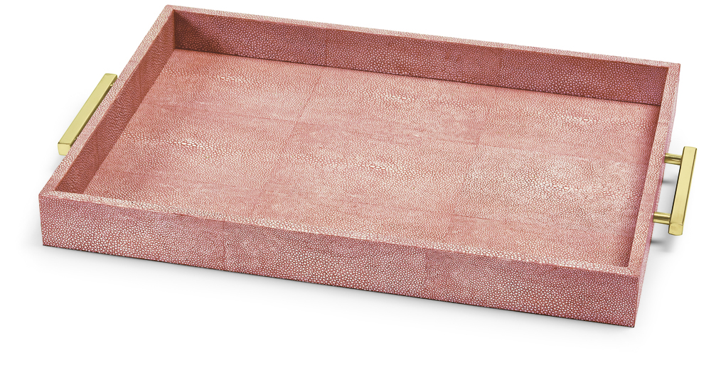 Shagreen Tray Pale Coral Red
