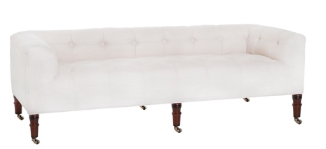 White Tufted Bench w/ Back