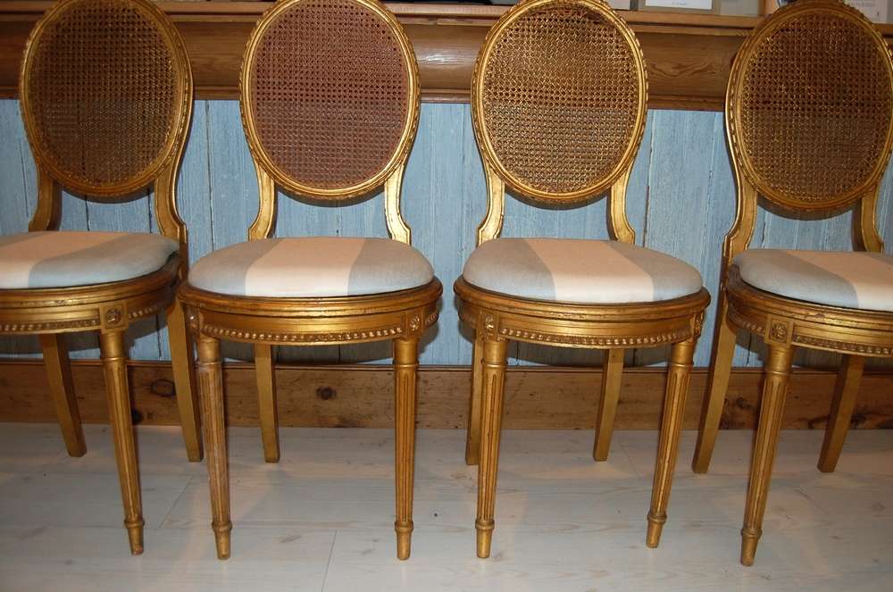 Vintage Gold Cane Back Chair