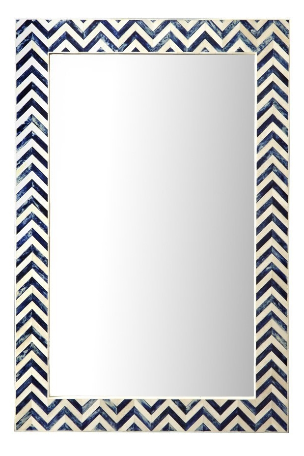 Chevron Blue & White Mirror
