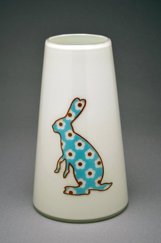 Blue Bunny Floral Vase