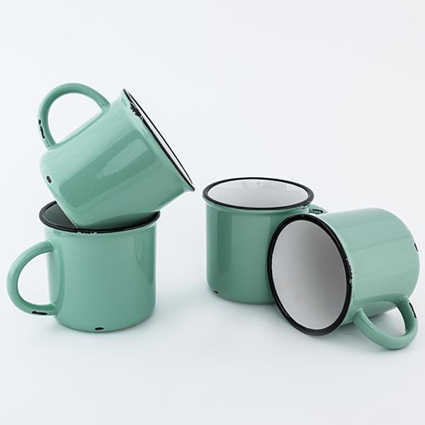Green Ceramic Tinware Mug