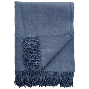 Midnight Blue Linen Throw Blanket