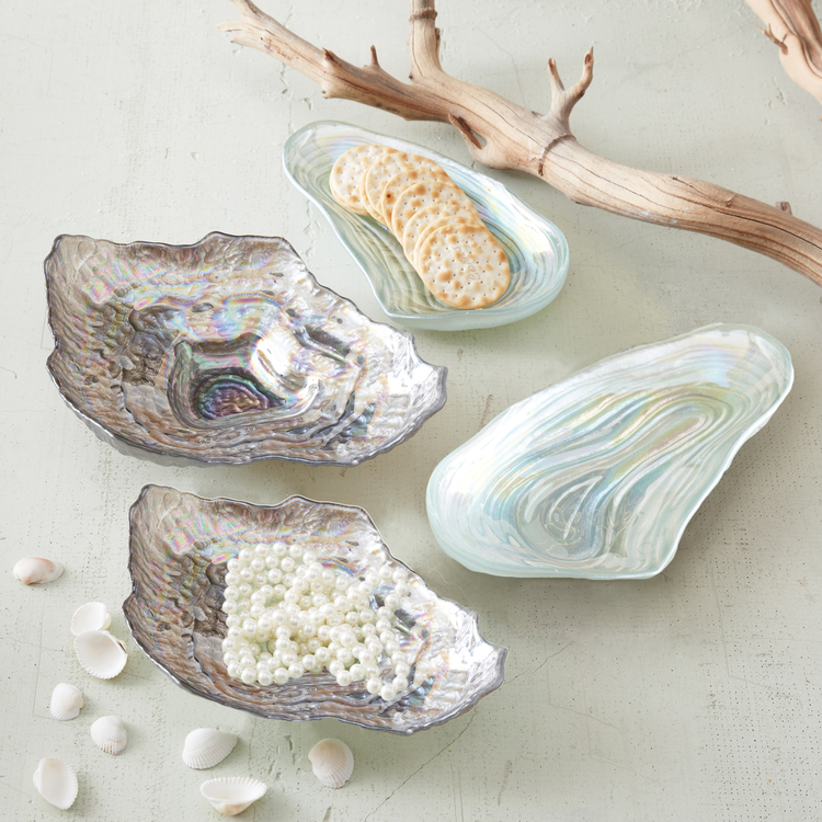 "LONG ISLAND PULSE:  BRING THE BEACH TO YOUR BEDROOM ""The seashells in the Hamptons will soon be covered in snow, but you can still have a piece of the beach in your home by using clam & oyster stacking dishes to store jewelry and even light bites."""