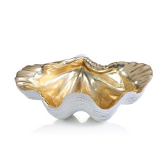 Gold and White Resin Clam Shell Bowl