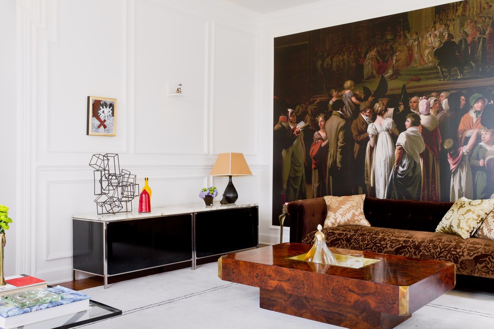 Leopold's #2 Mural  from Raji RM murals collection. Juxtaposed on the adjacent wall is a tiny French wire sculpture propped on a shelf. Think David and Goliath! - Interior Design by  Raji RM & Associates ;