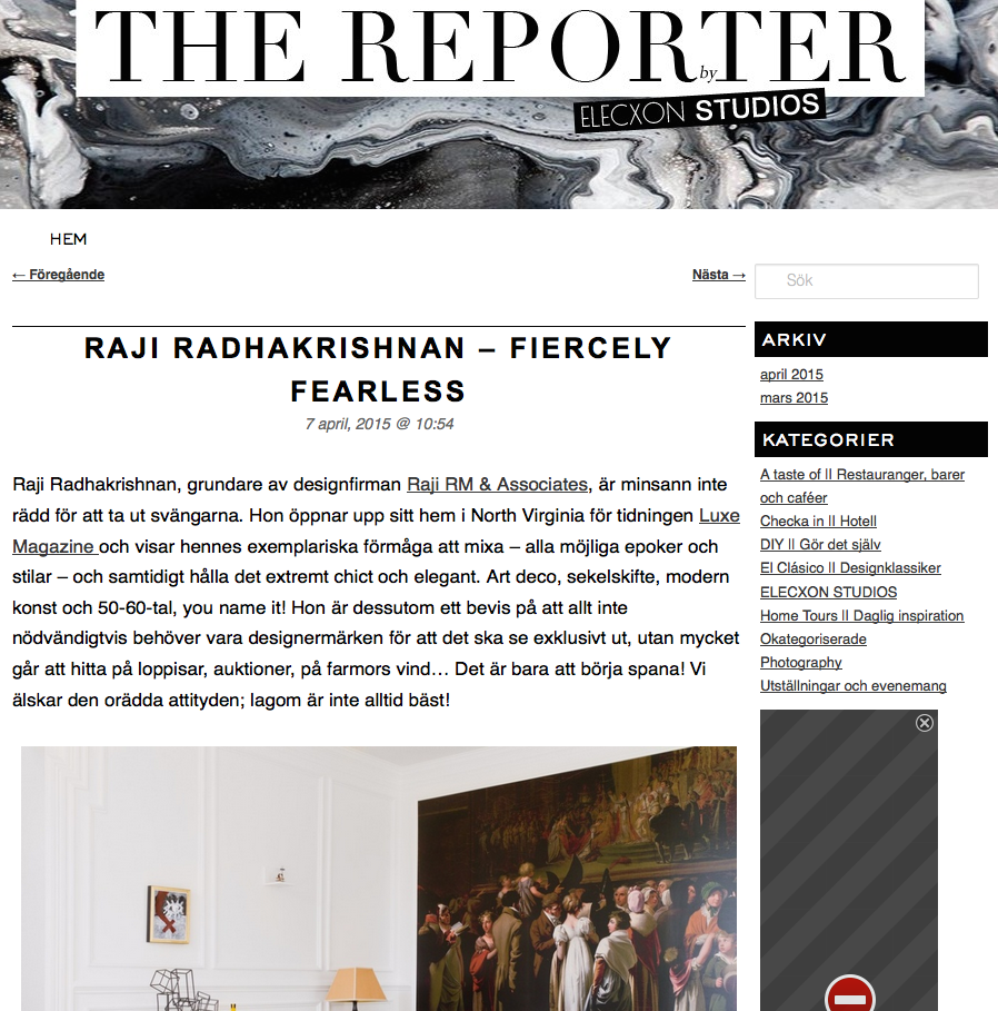 The Reporter Raji RM Interior Design Washington DC New York