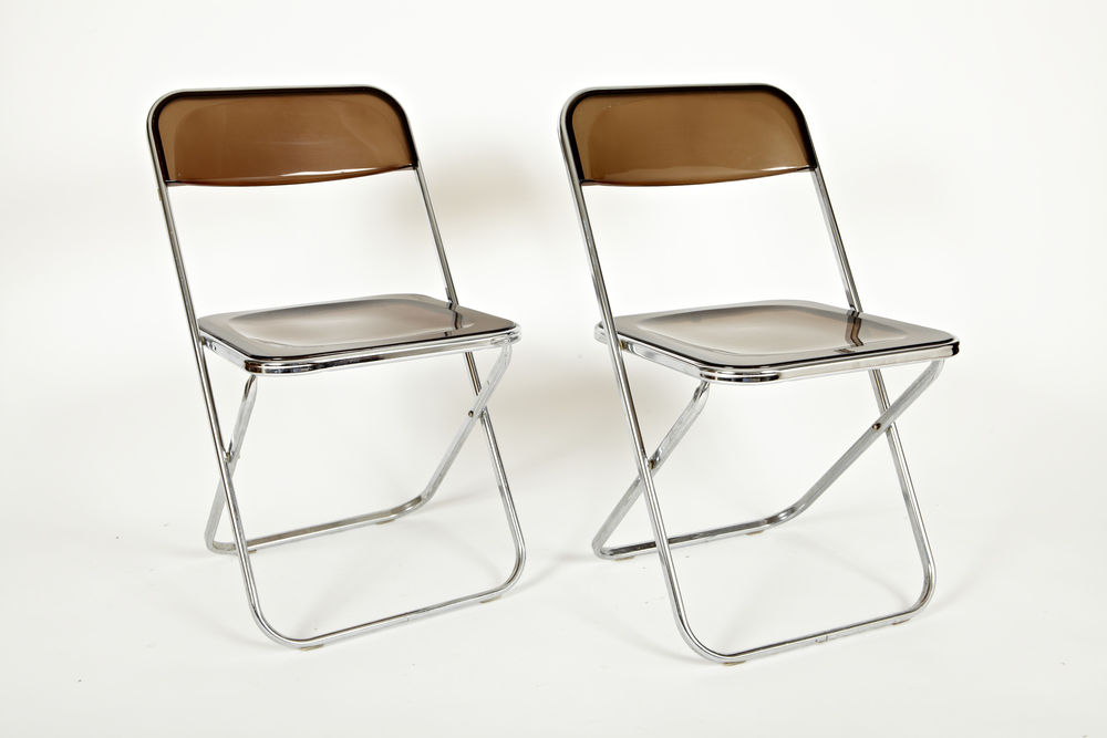 Pair Italian Lucite Folding Chairs