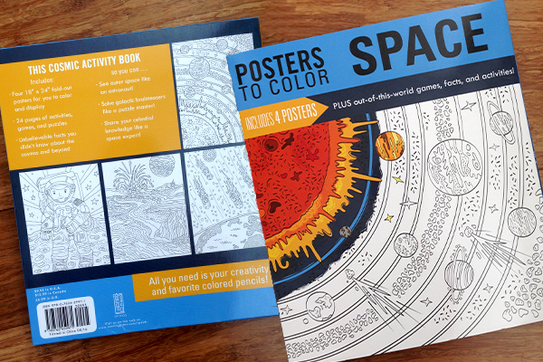 """Posters To Color Space"" is a children's coloring and activities book. It will be published by Running Press Book Publishing in June 2016."