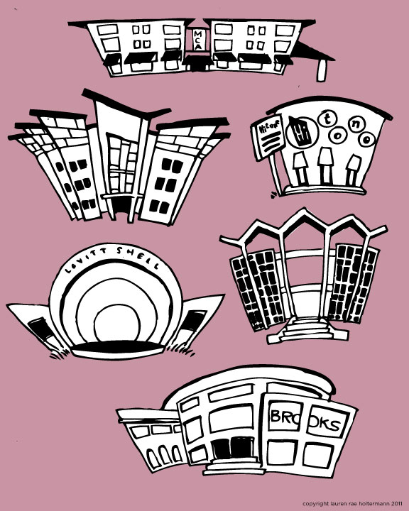 Some illustrations of midtown buildings for a map redesign I'm doing for Memphis College of Art.
