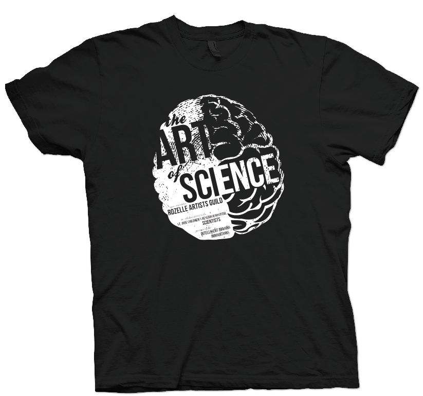 This is the design for the shirts we're having printed for the Art of Science exhibition. I've designed all of the promotion & merchandise for this project! Check out artofsciencememphis.com.