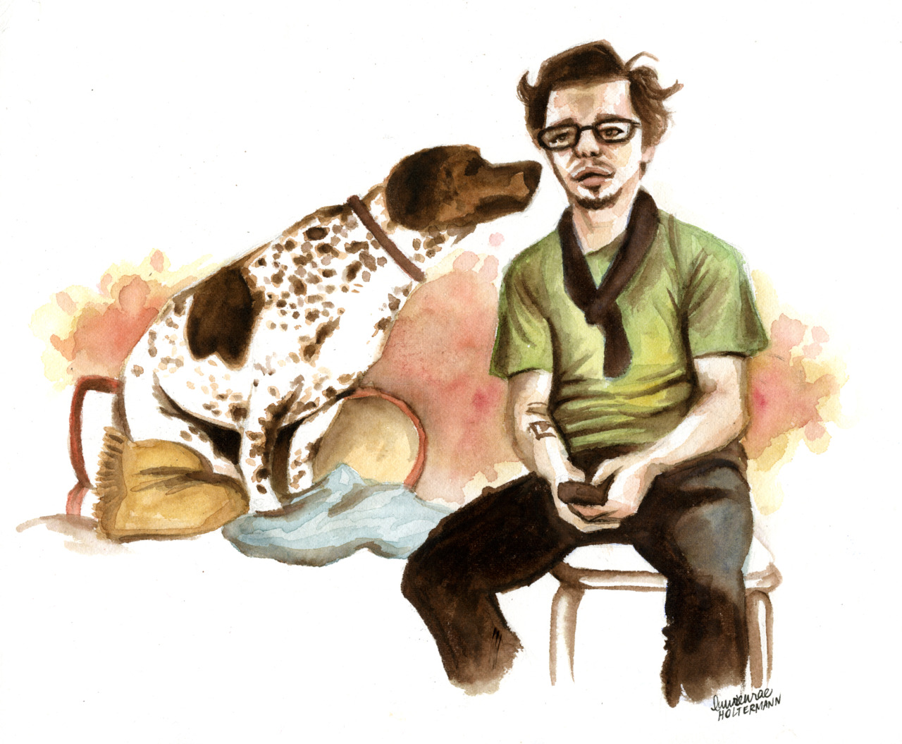 Beth Spencer commissioned me to do this illustration of our dear friend Shawn Youngblood and his badass dog Bernard for his birthday.