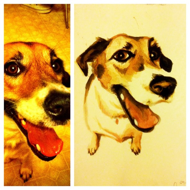 I did a watercolor illustration of Beth's dog Lisa last night, and I think I discovered a love for animal portraits. Contact me if you want one! I'm affordable & fast.