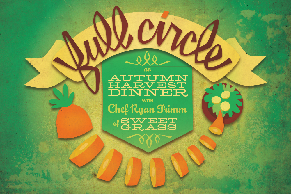 I'm designing cards, posters and ads for a series of dinners by the Cooper-Young Farmers Market. The text for the name, Full Circle, is hand drawn in Illustrator.