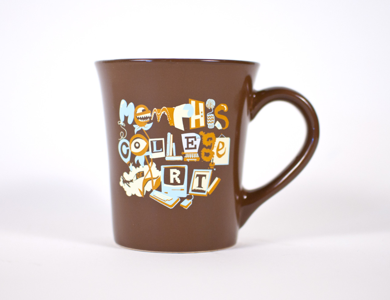 That design I did for Memphis College of Art t-shirts ended up printed on coffee mugs, and they don't look half bad, if I do say so myself.