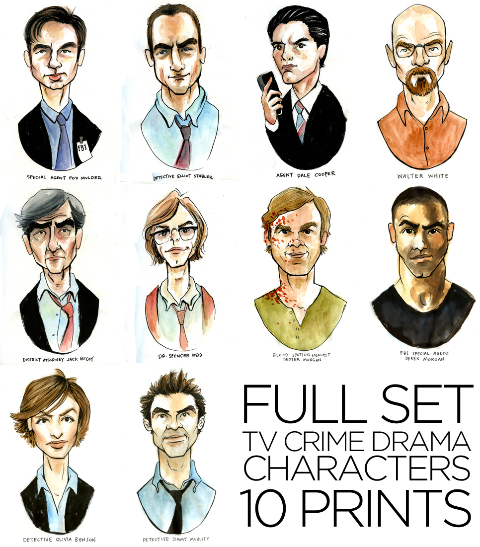 So I did some more illustrations of my favorite TV crime drama characters—please welcome to the stage Dexter Morgan, Walter White, Olivia Benson, Jimmy McNulty, & Derek Morgan. They're on sale in my Etsy for $10ea, set of 5 for $40, or all 10 for the new low price of $75.