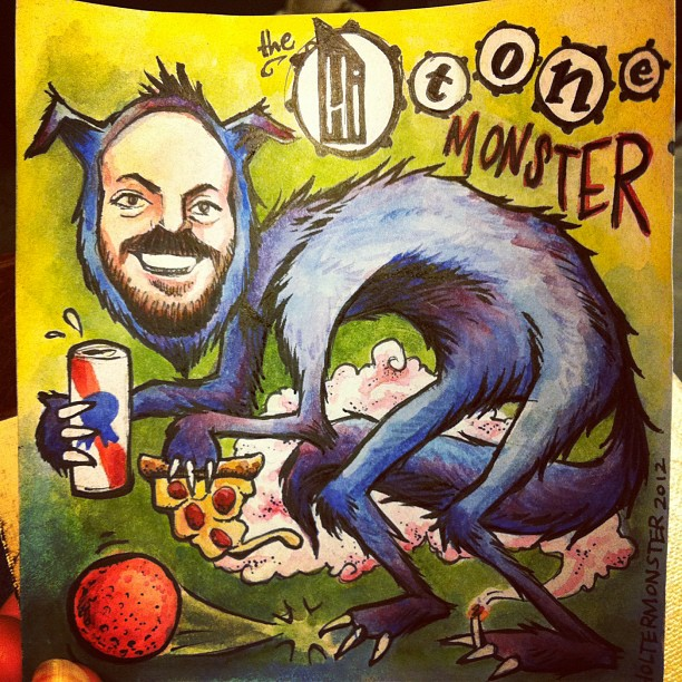 Illustration of Johnny Kiersky as a Hi Tone Monster for his birthday last week.