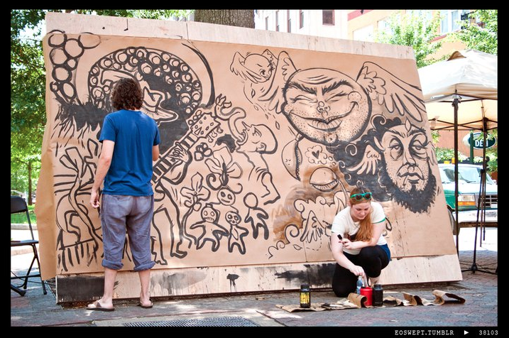 I battled local illustrator Gino Barzizza a couple weeks ago in an Ink-Off in Court Square. The event was the last in a series of lunchtime art events I organized with Live From Memphis. Photo by Bryan Rollins.