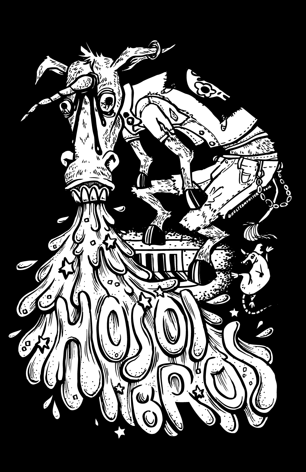 New DRUNK DONKEY shirt design for Hosoi Bros.—stupid music for smart people. Check em out!