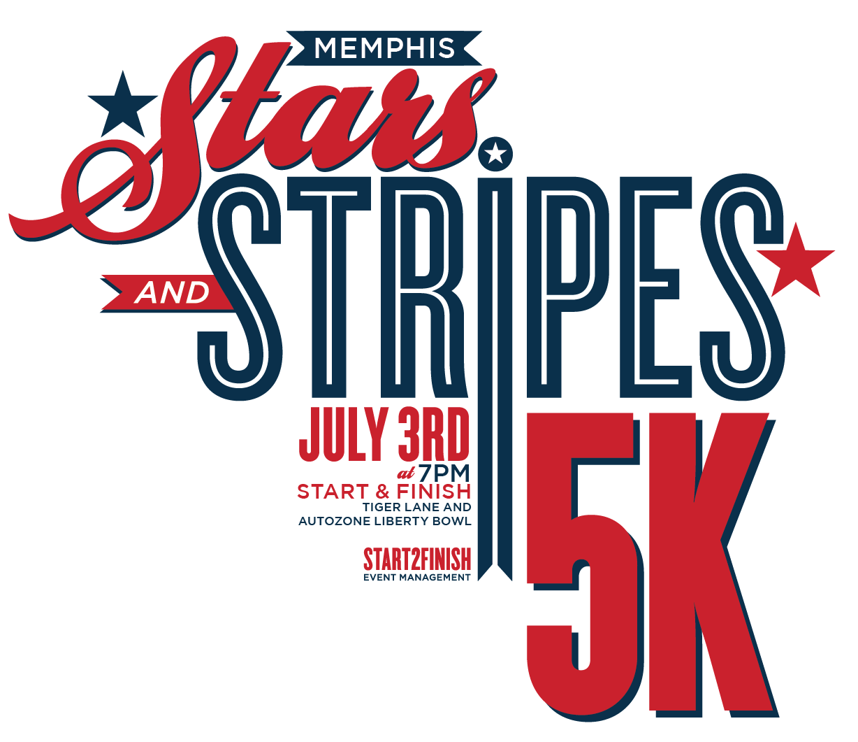 Logo for the new Stars & Stripes 5K in Memphis!