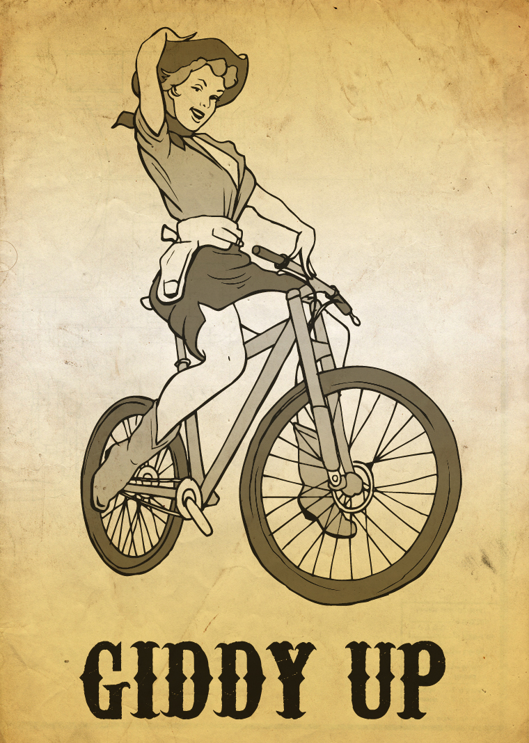 Cowgirl pin up riding a mountain bike? Yes, I can do that.