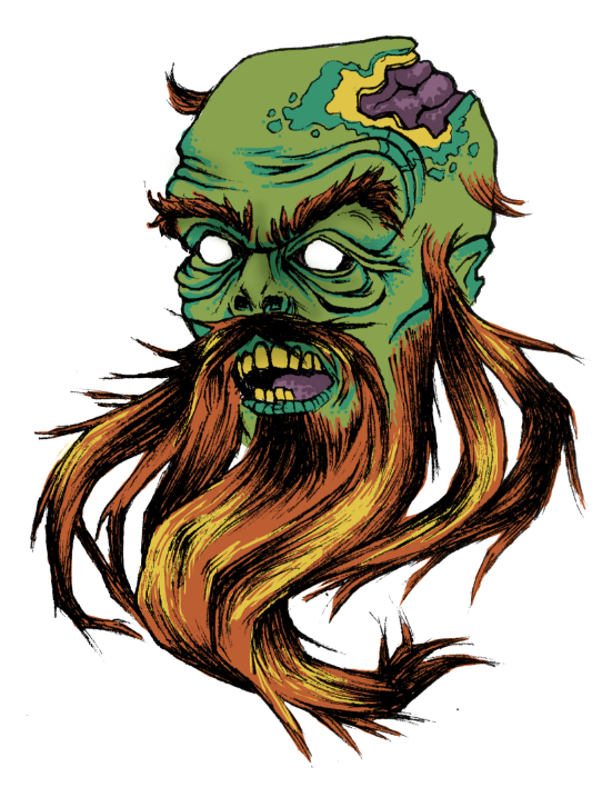 Red bearded zombie tattoo commission for my friend Tommy. I think the color turned out decent considering I did it all on my laptop trackpad.
