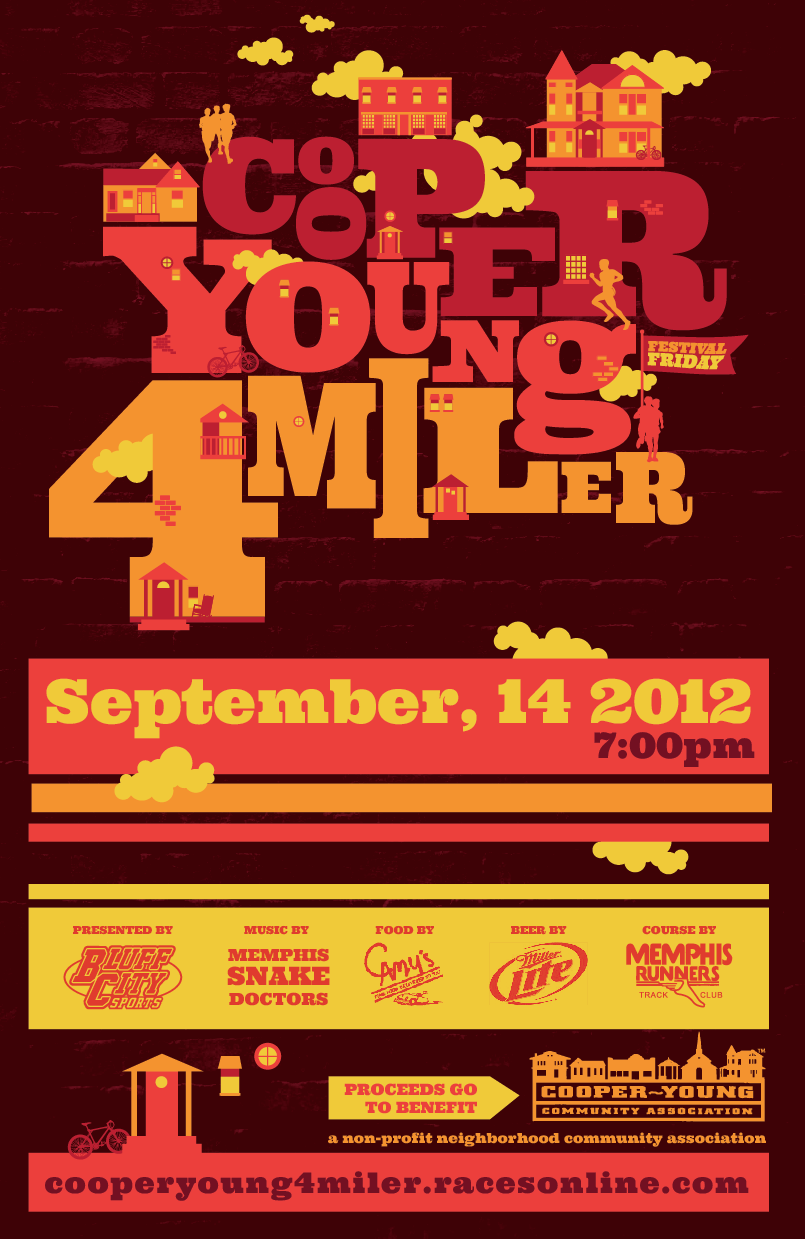 Poster for the Cooper-Young Festival Friday 4-Miler coming up next month!