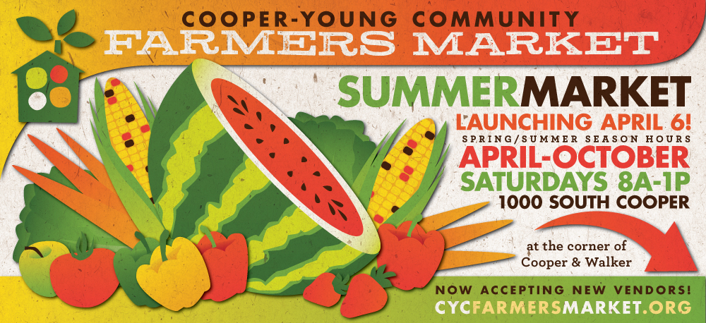 I present to you the spring billboard for the Cooper-Young Community Farmers Market now up at the corner of Cooper & Young!