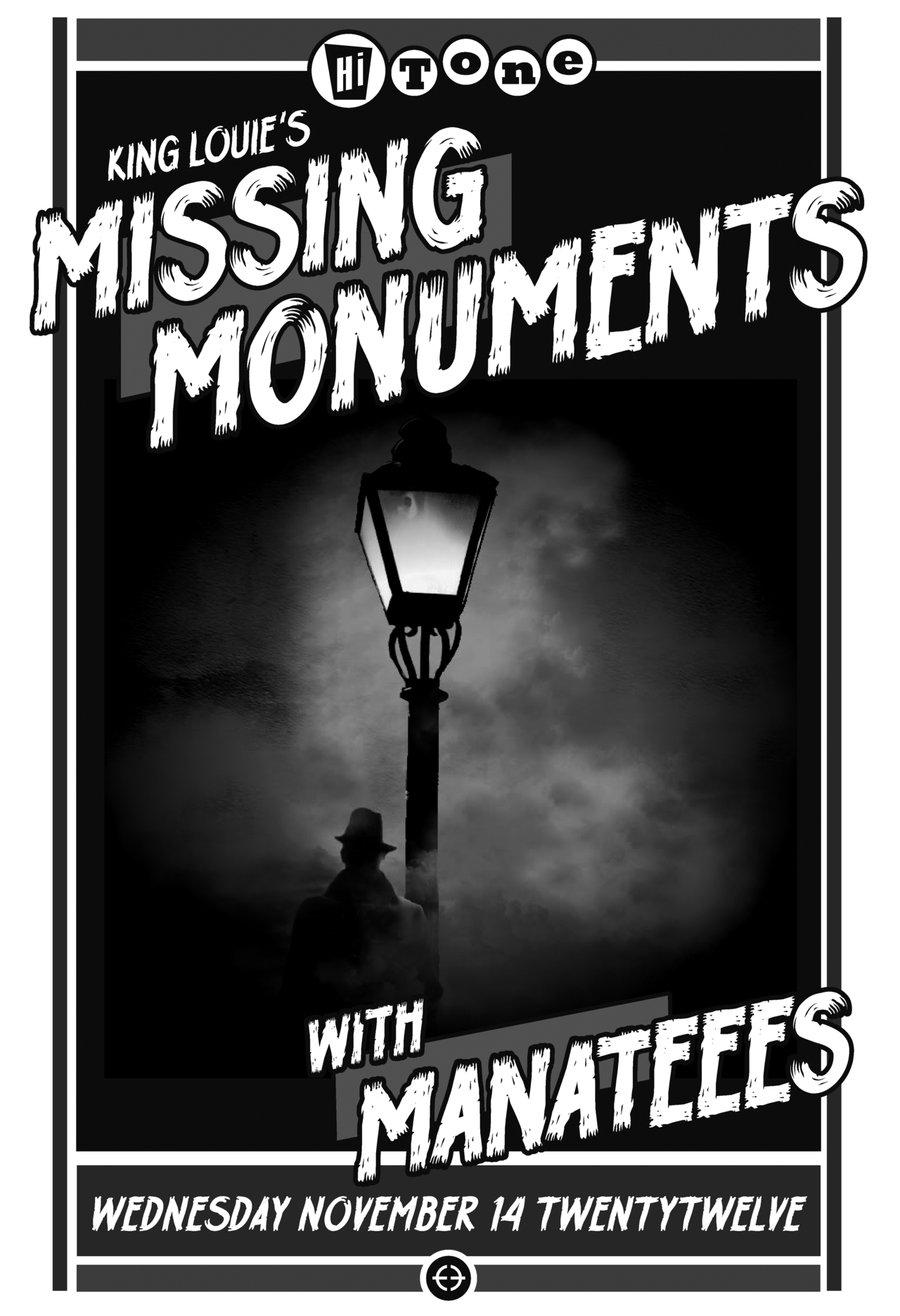 Erf poster for Missing Monuments playing the Hi Tone this month with Manateees!