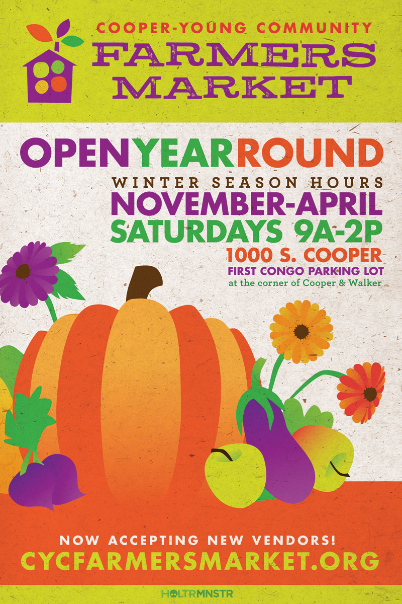 Poster for the Cooper-Young Community Farmers Market's winter hours.