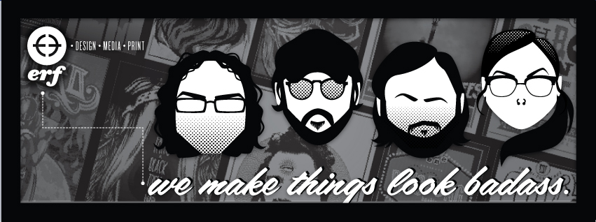 New banner for Erf featuring the Erflings Ronnie, Joshie B., Chuckles & Yrs Truly, the Holtermonster.