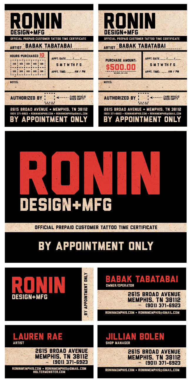 I'll be apprenticing under Babak at his new shop, Ronin, when it opens in January. Designed up some prepaid tattoo time cards and business cards to get the ball rolling!