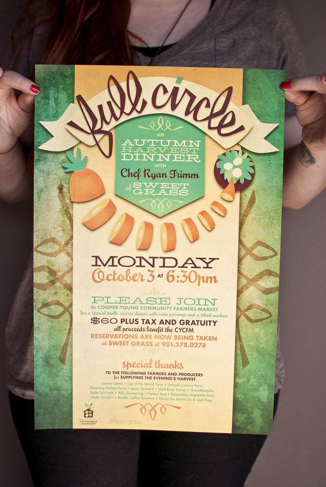 Katie Benjamin took some lovely photos of the printed materials I designed for the Cooper-Young Community Farmers Market's dinner series, Full Circle. It's all on my gallery: http://gallery.holtermonster.com