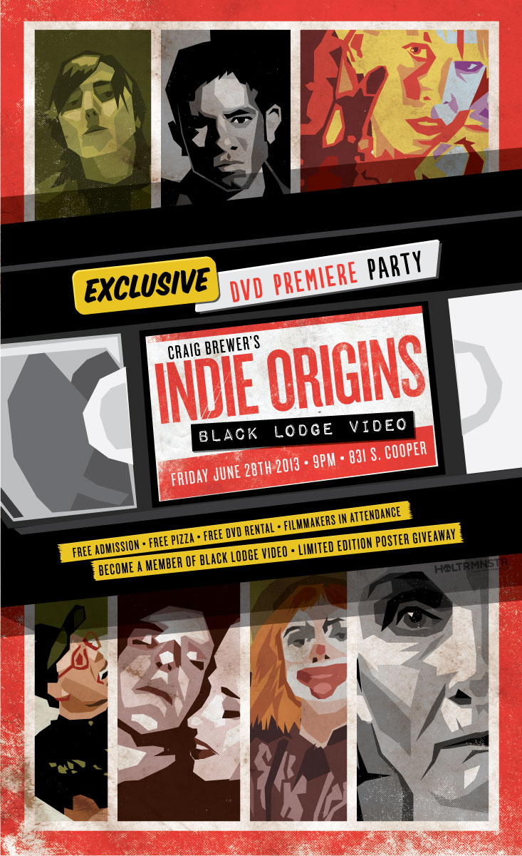 I made this poster for the premiere party for Craig Brewer's documentary Indie Origins which chronicles the beginning of the Memphis film scene in the late 1990's when two key components finally existed simultaneously: the Indie Memphis Film Festival and Black Lodge Video. Featuring 7 local short films that you've probably never seen before. It's a pretty good doc and the party promises to be overwhelmingly Memphian.
