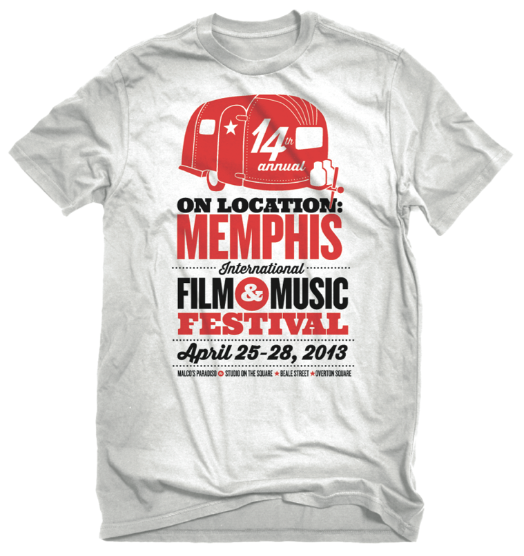 Shirt design for the On Location: Memphis International Film & Music Festival, a local film fest in its 14th year that I branded single-handedly this year!