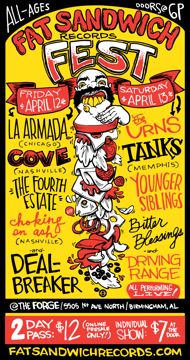Poster for Fat Sandwich Fest in April! I love drawing shit like this.