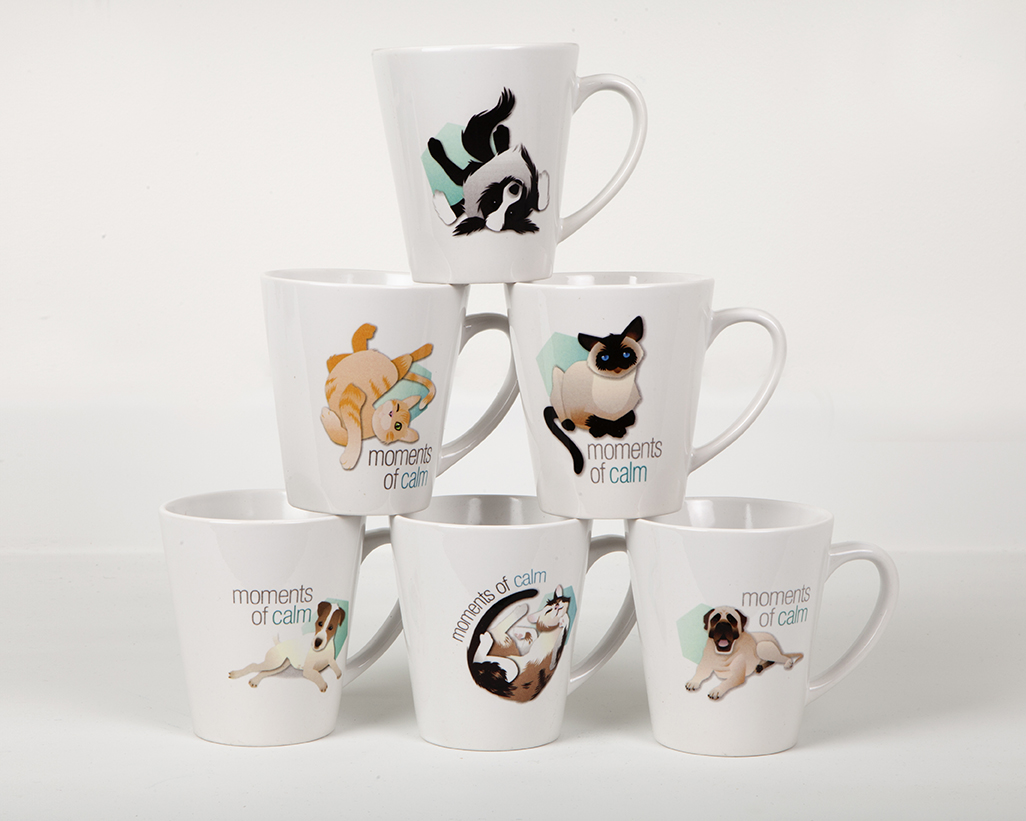 Promotional coffee mugs for a pet sedative from Pfizer. I did the illustrations of the kitties and puppies contracted out by archer>malmo! Aren't they cute?