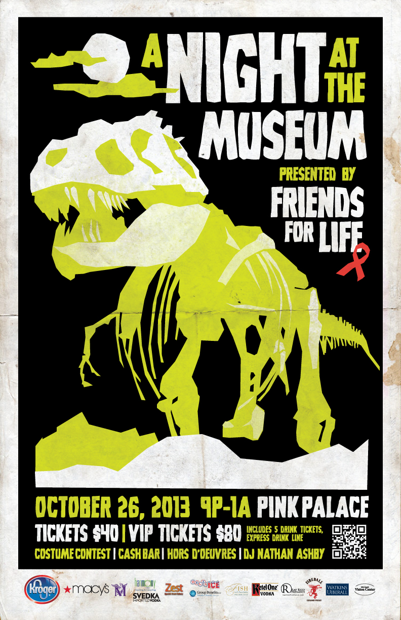 Poster for the annual Friends for Life Halloween fundraiser party, commissioned through Ray Rico Freelance!