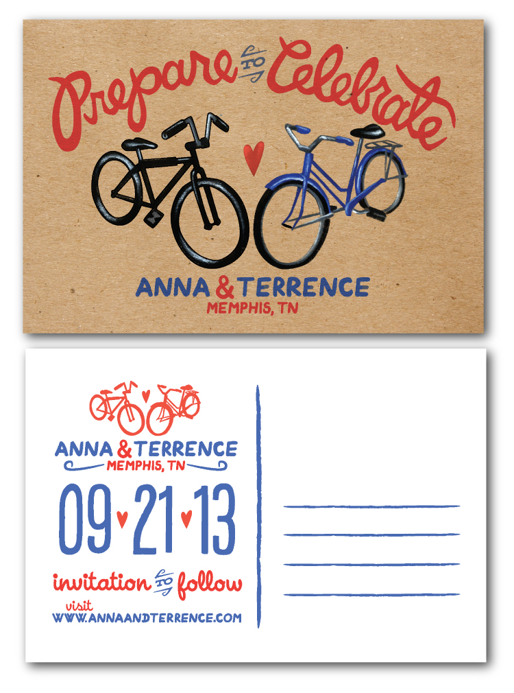 Save the Date postcard for Anna & Terrence, with a painted illustration of the couple's respective bicycles. ❤