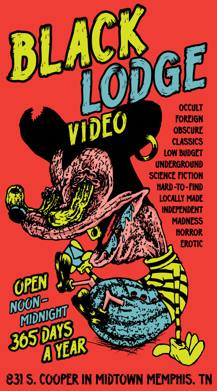 Cole Wheeler drew this gnarly mouse in my sketchbook so I took it upon myself to color it and make it into an ad for Black Lodge.