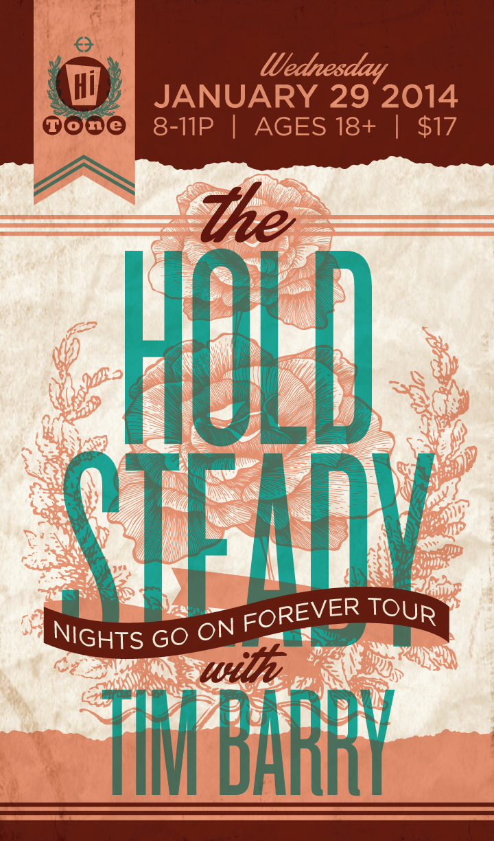 Poster for the Hold Steady with Tim Barry at the Hi-Tone on January 29