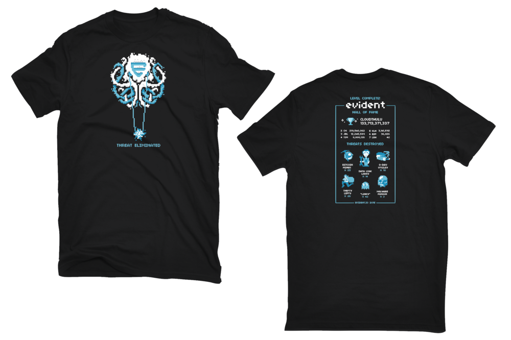 t-shirt designs turning Cloudthulu into a 16-bit video game boss.